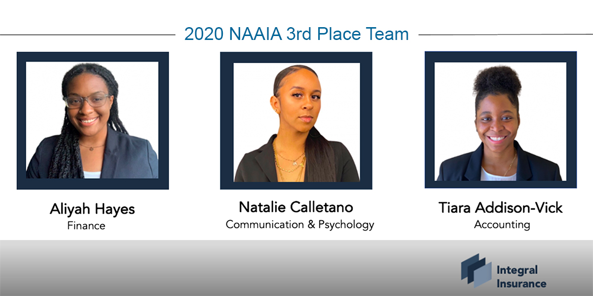 Three-woman UConn student team that captured third place in the National African American Insurance Association (NAAIA) National Talent Competition in 2020